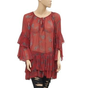 Free People Floral Printed Front Tie Tiered Top S